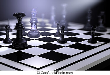 Chessboard with figures on Business Strategy - Background