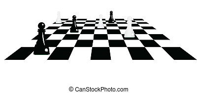 chessboard with pawns vector illustration
