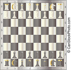 chessboard with the order placed by chessmen