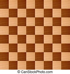 Chessboard - Wooden chessboard with light and dark wood...