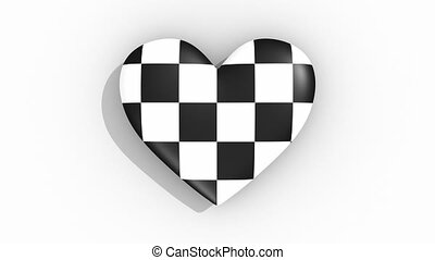 Chesscage Heart pulses, loop - Heart in black and white...