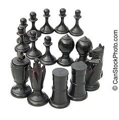 chesses, haut, s, noir, blanc, revêtu