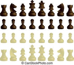 Chessmen complete set - black and white chessmen complete ...