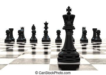 chessmen, interpretazione, scacchiera, lucido, 3d