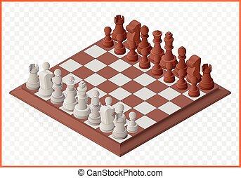 chessmen, isometric, kawał, szachy