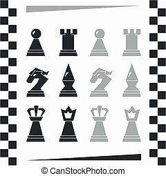 chessmen, monocromatico, silhouette