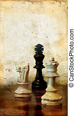 Chessmen on a Grunge Background - Chessmen on grunge...