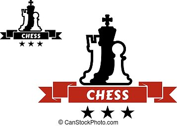 chessmen, różny, emblemat, szachy