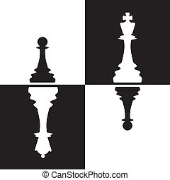 Chessmen reflection - Chessmen - Pawns reflected as Queen...