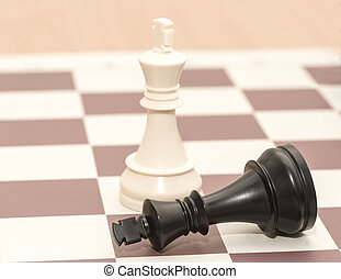 chessmen, roi, blanc, noir, baissé