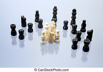 Chessmen - Various chessmen standing on glassy background...