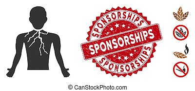 Chest Cancer Icon with Textured Sponsorships Stamp