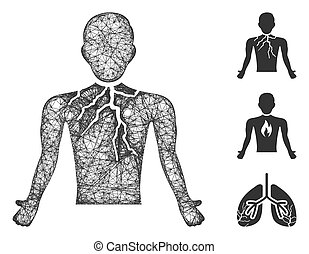 Chest Cancer Polygonal Web Vector Mesh Illustration
