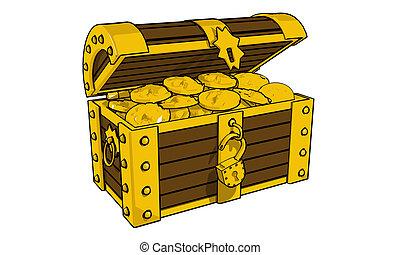 Chest full of gold coins (3d illustration)