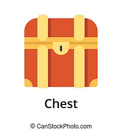 Chest flat vector illustration. Single object. Icon for ...