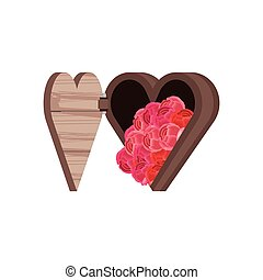 chest in heart shape with flowers