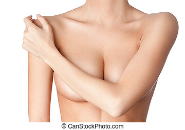 Chest of a young woman, isolated, white background
