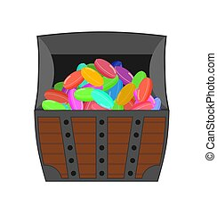 Chest of candy. sweets wealth. vector illustration