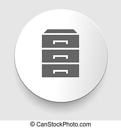chest of drawers icon on white background.