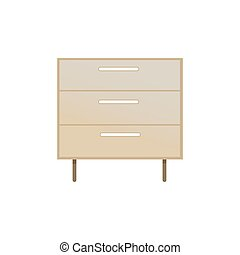 Chest of Drawers Closeup, Vector Illustration