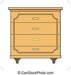 chest of drawers - vector illustration of chest of drawers