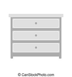 Chest of drawers. Gray furniture vector for clothes.