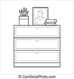Chest of drawers flat  icon