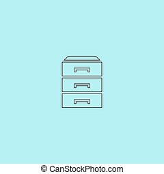 chest of drawers icon - Chest of drawers. Simple outline...