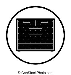 Chest of drawers icon. Thin circle design. Vector...