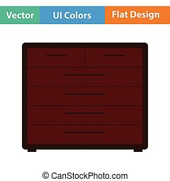 Chest of drawers icon. Flat design. Vector illustration.