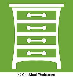 Chest of drawers icon green - Chest of drawers in simple...
