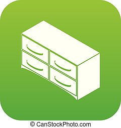 Chest of drawers icon green vector isolated on white...