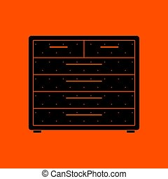 Chest of drawers icon. Orange background with black. Vector...