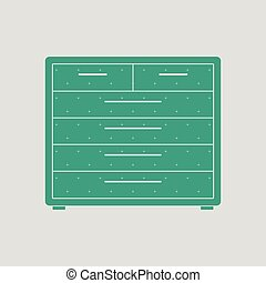 Chest of drawers icon. Gray background with green. Vector...