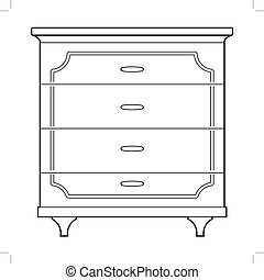 chest of drawers - outline illustration of chest of drawers