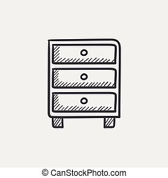 Chest of drawers sketch icon. - Chest of drawers sketch icon...