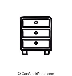 Chest of drawers sketch icon. - Chest of drawers vector...