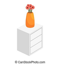 chest of drawers vase of flowers