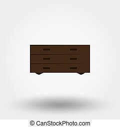 Chest of drawers. Vector illustration. - Chest of drawers....