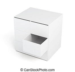 Chest of drawers with open drawer isolated on a white background