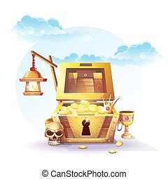 Chest of gold and a lantern