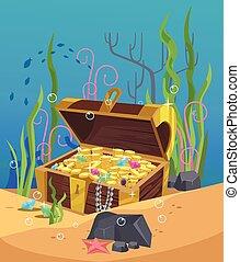 Chest of gold on the ocean bottom. Vector flat cartoon...