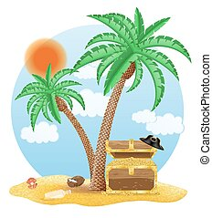 chest of gold standing under a palm tree vector illustration