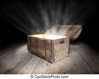 Chest of treasure - Ancient wooden treasure chest with the...