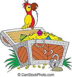 Chest of treasure - Parrot perched on a chest filled with...