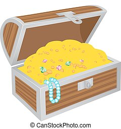 Wooden chest of treasures isolated on the white background