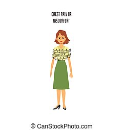 Chest pain or discomfort - cartoon woman with barbed wire wrapped around