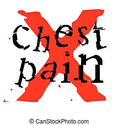 CHest pain sticker. Authentic design graphic stamp. Original series