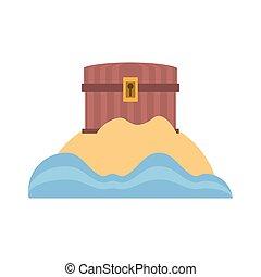 chest pirate wooden closed treasure sand sea