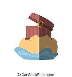 chest pirate wooden golden treasure sand shadow